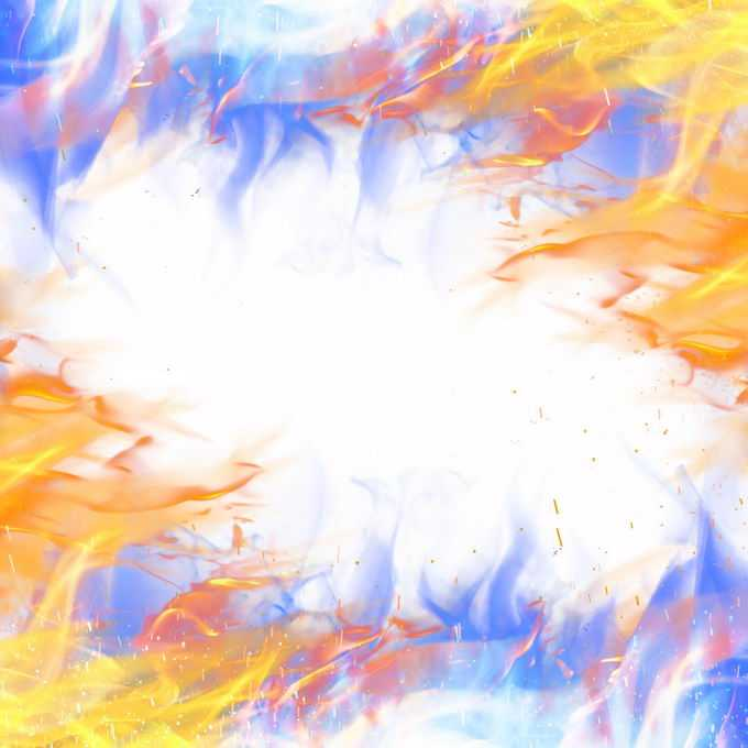 燃烧着的绚丽彩色火焰效果装饰6067151免抠图片素材