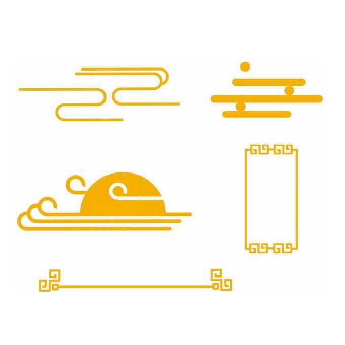 各种金黄色祥云和中国风线条边框图案1765113免抠图片素材