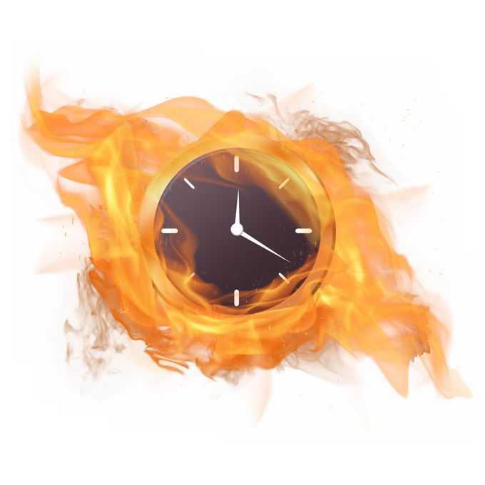 钟表上燃烧的火焰效果4377256免抠图片素材