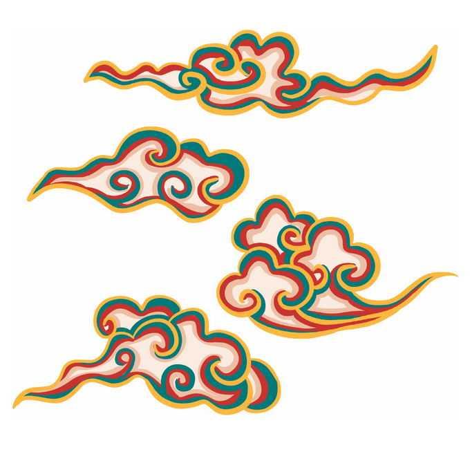 金色绿色红色线条组成的中国风祥云图案8729402免抠图片素材