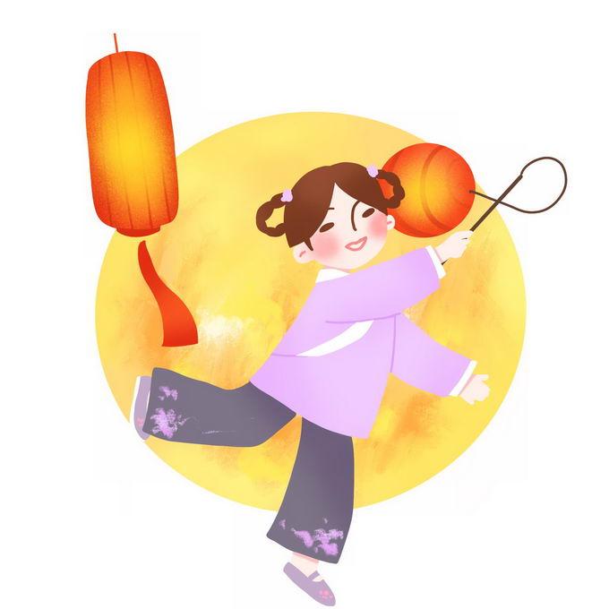 元宵节大大的黄色月亮前打着红灯笼的卡通女孩2334088免抠图片素材