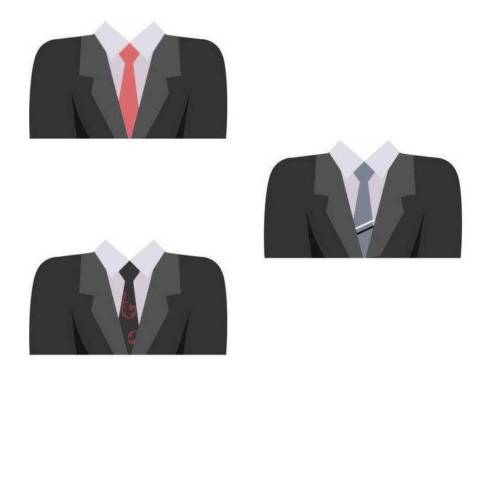 三款扁平化风格西装男装2947407免抠图片素材