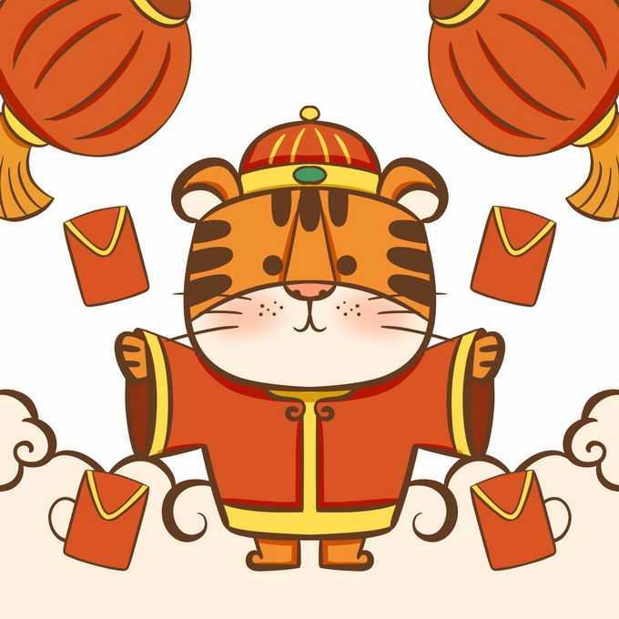 2022年虎年新年春节卡通老虎发红包8916524免抠图片素材
