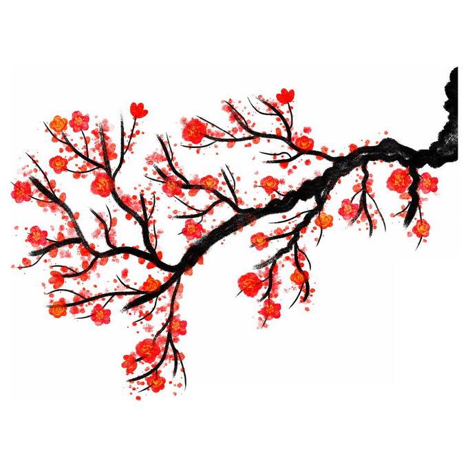 水墨画风格梅花枝上的红色梅花8971100免抠图片素材