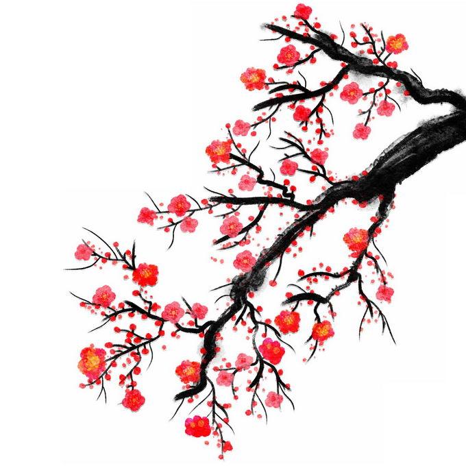 水墨画风格梅花枝上的红色梅花4964513免抠图片素材