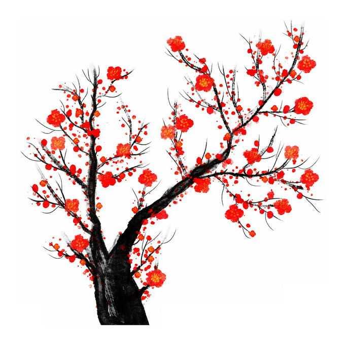 水墨画风格桃花枝上的红色桃花8677706免抠图片素材