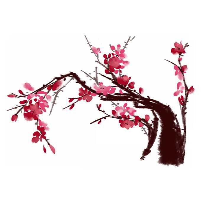 水墨画风格桃花枝上的红色桃花7463233免抠图片素材