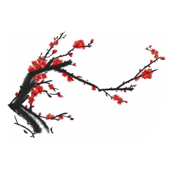 水墨画风格腊梅梅花枝上的红色梅花4189677免抠图片素材