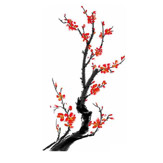 水墨画风格腊梅梅花枝上的红色梅花5867727免抠图片素材