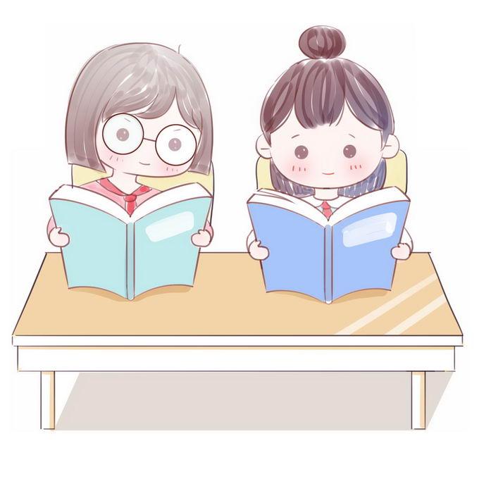 2个认真看书读书的卡通学生小朋友7919416免抠图片素材