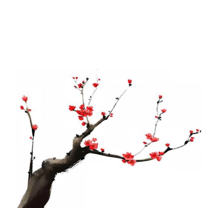 水墨画风格桃花枝上的红色桃花1585093免抠图片素材