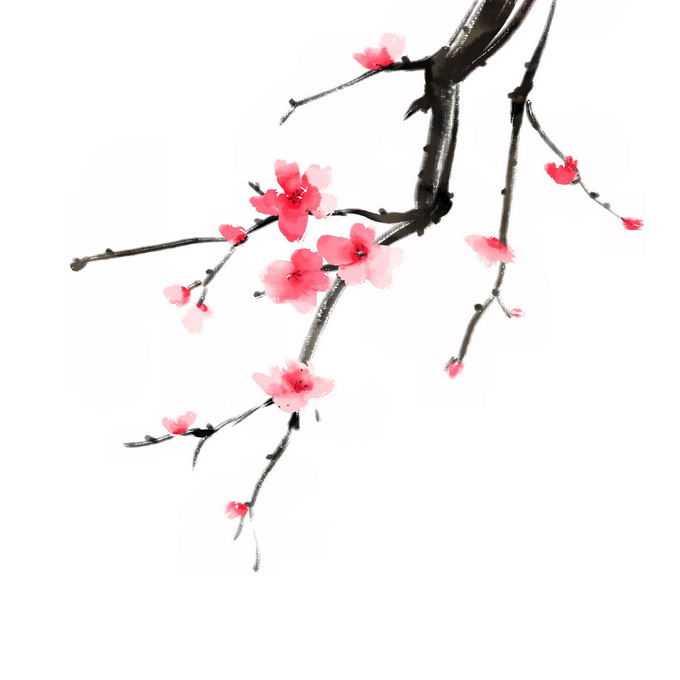 水墨画风格桃花枝上的红色桃花5864384免抠图片素材