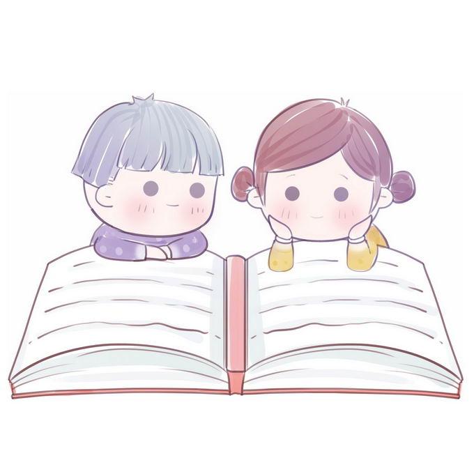 趴在大大书本上认真看书读书的两个卡通学生小朋友6516194免抠图片素材