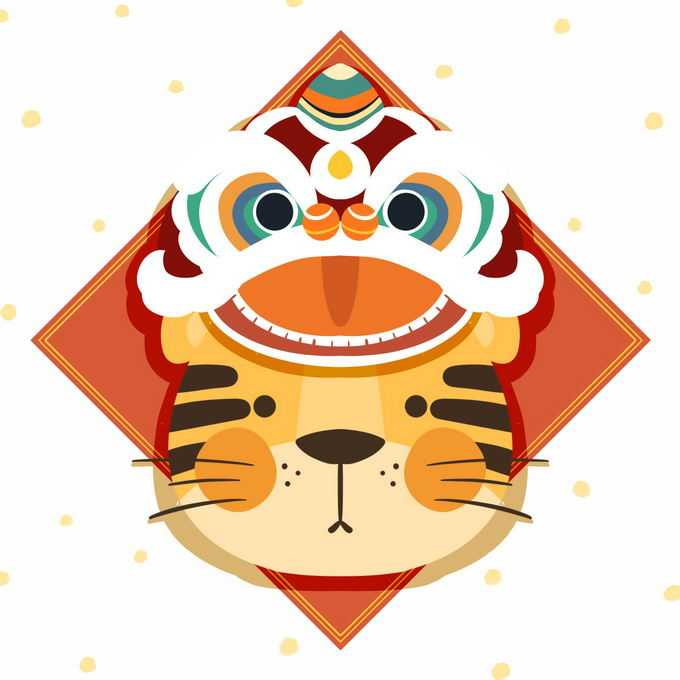 2022年虎年新年春节卡通老虎舞狮子装饰5283040免抠图片素材