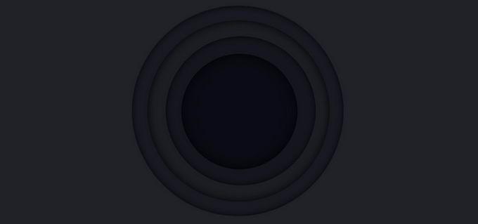 高级灰剪纸叠加风格同心圆图案黑色背景5971834免抠图片素材