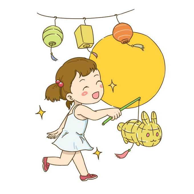 正月十五元宵节花灯兔子灯小女孩6724756免抠图片素材