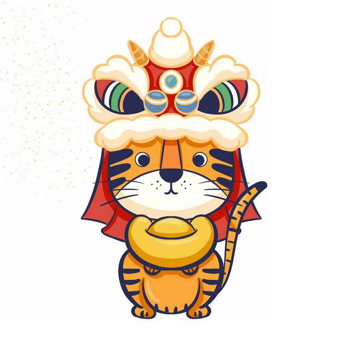 2022年虎年新年春节舞狮子卡通老虎7763282免抠图片素材