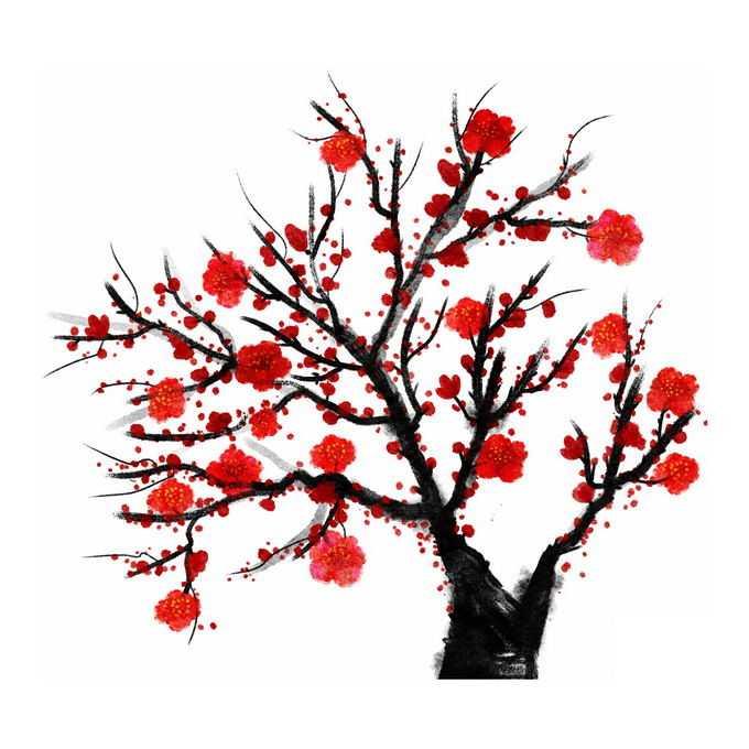 水墨画风格腊梅梅花枝上的红色梅花3233358免抠图片素材