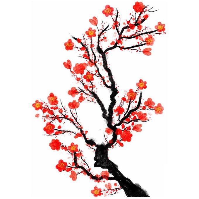 水墨画风格桃花枝上的红色桃花2459085免抠图片素材