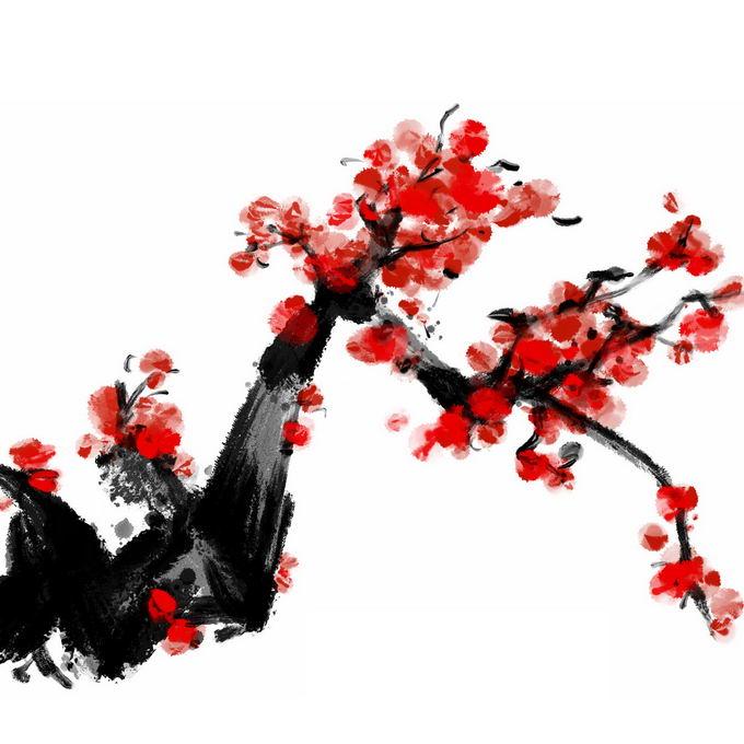 水墨画风格桃花枝上的红色桃花6867059免抠图片素材
