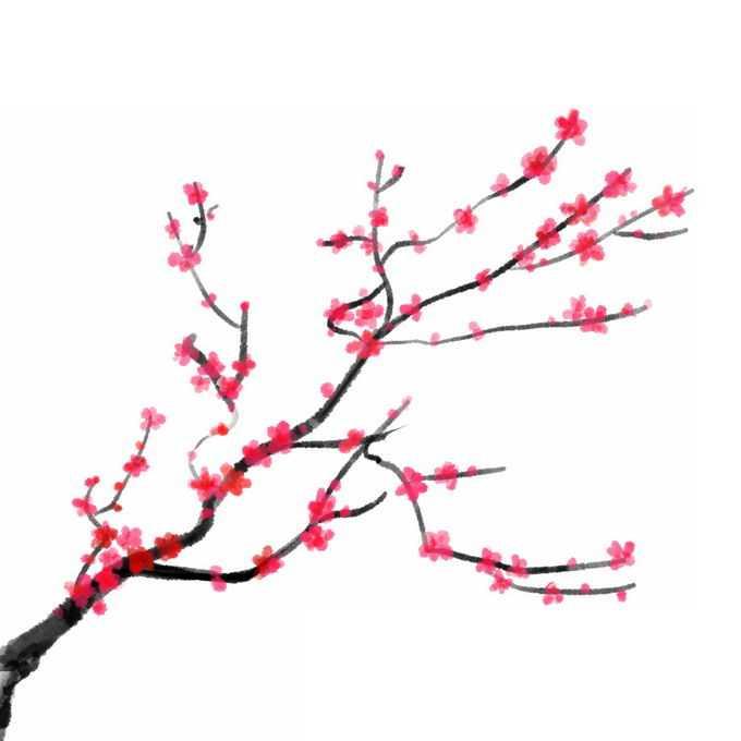 水墨画风格桃花枝上的红色桃花2210704免抠图片素材