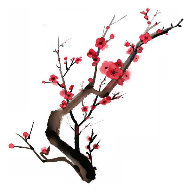 水墨画风格桃花枝上的红色桃花6163016免抠图片素材