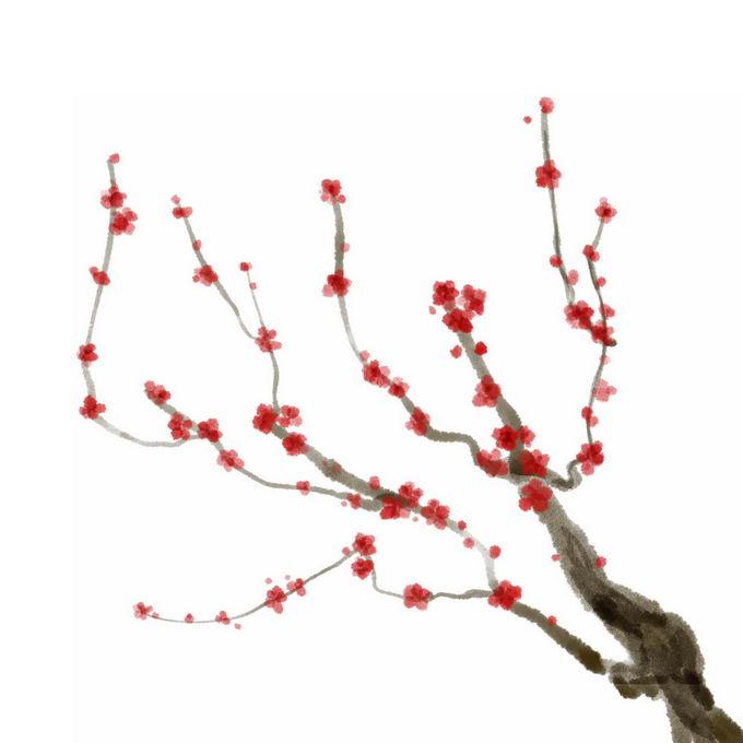 水墨画风格桃花枝上的红色桃花7110581免抠图片素材