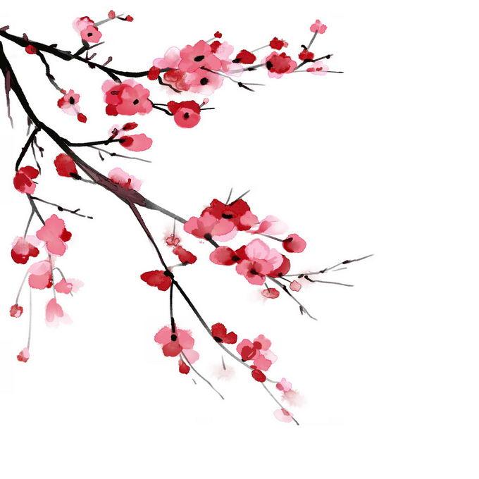 水墨画风格桃花枝上的红色桃花2784894免抠图片素材