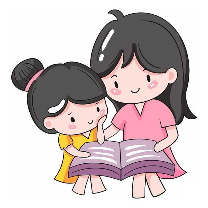 卡通妈妈正在陪伴女儿读书4767211免抠图片素材