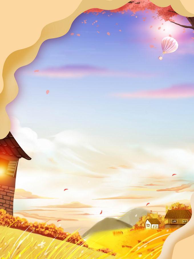 金秋时节乡村风景背景9980805免抠图片素材