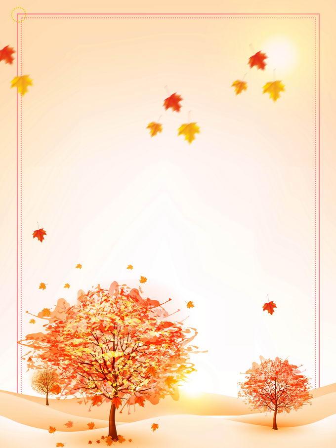金秋时节球探变黄的大树和飘舞的枫叶风景背景图9988866免抠图片素材
