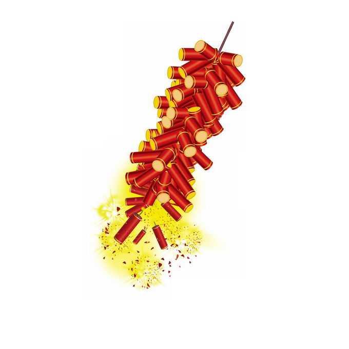 燃放中的新年春节过年喜庆红色鞭炮9819621免抠图片素材