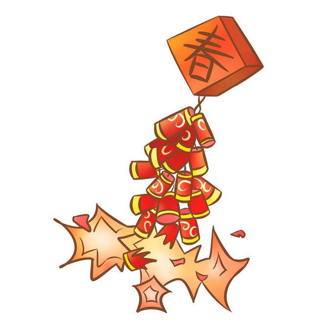 爆炸中的卡通新年春节过年喜庆红色鞭炮1284846免抠图片素材