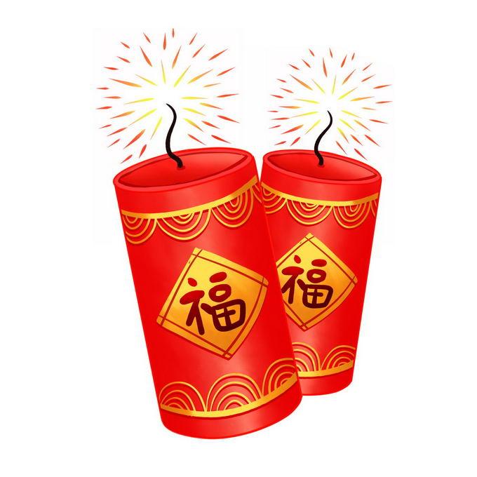 2个卡通新年春节红色福字爆竹7835871免抠图片素材