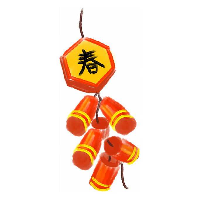 水彩画风格卡通新年春节过年喜庆红色鞭炮6943158免抠图片素材