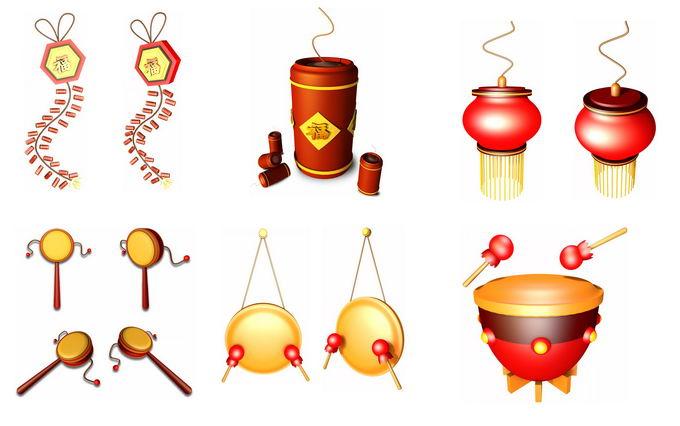 新年春节喜庆的鞭炮爆竹灯笼拨浪鼓敲锣打鼓9646692免抠图片素材