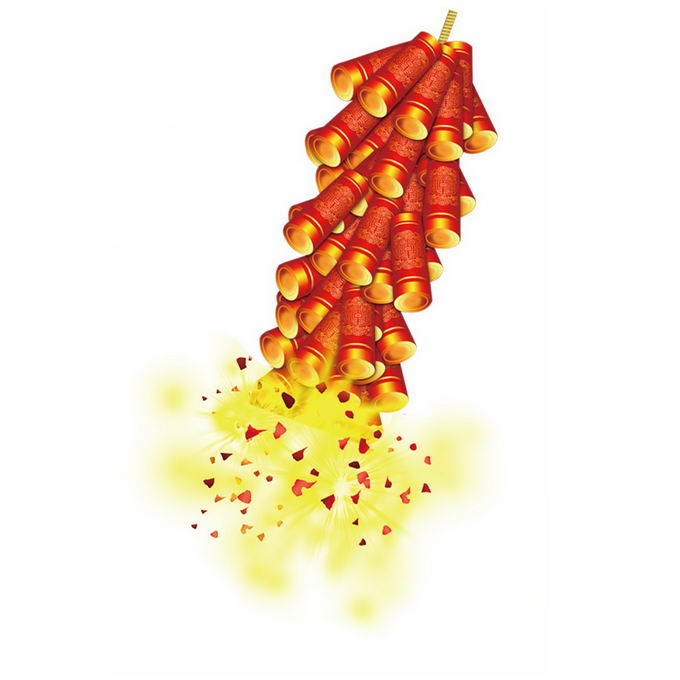 燃放中的红色鞭炮新年春节装饰7585351免抠图片素材