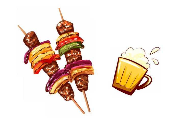 2款烤肉串和啤酒美味烧烤9025658免抠图片素材