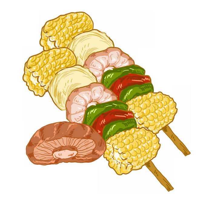 2串烤蔬菜烤玉米青椒香菇等烧烤美食4601643免抠图片素材