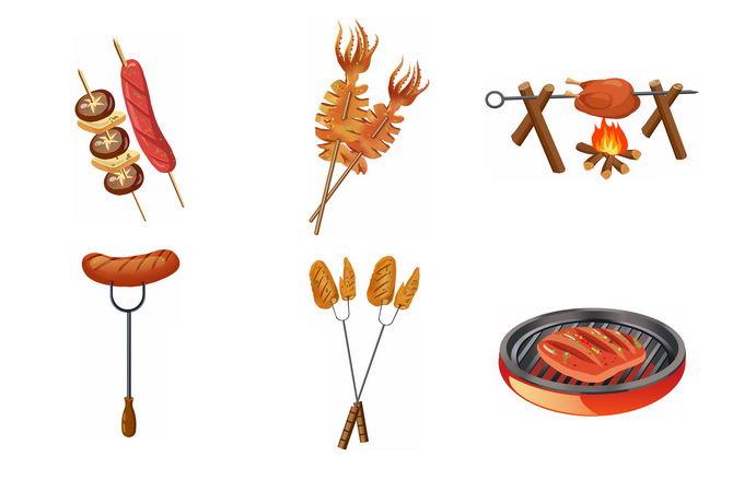 烤肉串烤香肠烤鱿鱼煎牛排美味烧烤美食8676939免抠图片素材