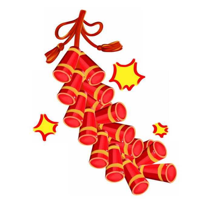 新年春节卡通红色鞭炮装饰8258665免抠图片素材