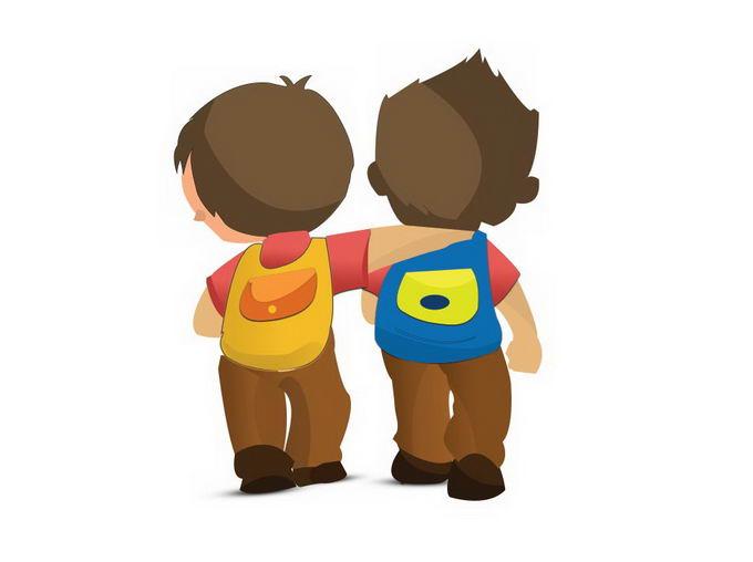 勾肩搭背的好朋友卡通背影3486268免抠图片素材