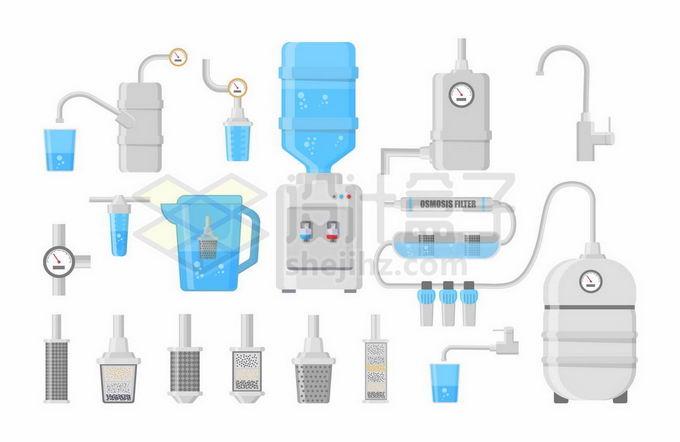 饮水机纯净水桶吸水器直饮机滤水器等健康饮水工具2951618矢量图片免抠素材免费下载