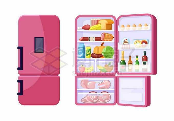 红色的电冰箱里面放满的食物6664602矢量图片免抠素材免费下载