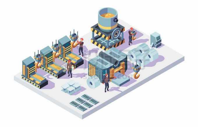 2.5D风格冶金钢铁厂炼钢厂机械设备和工人2153798矢量图片免抠素材免费下载