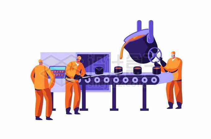 炼钢厂里在流水线上生产的钢铁工人卡通插画5069301矢量图片免抠素材免费下载
