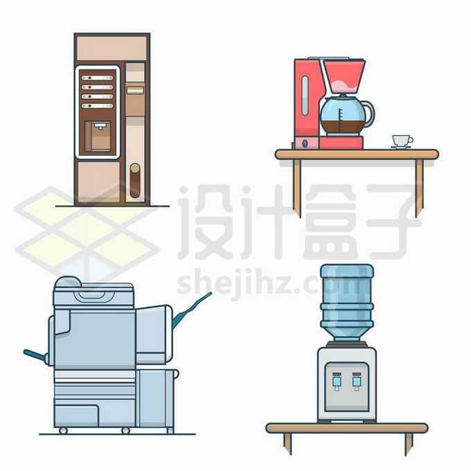 4款彩色卡通风格咖啡机饮水机5141010矢量图片免抠素材免费下载