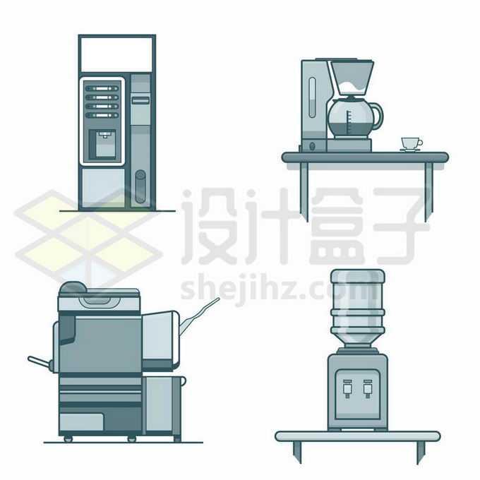 4款单色卡通风格咖啡机饮水机8609035矢量图片免抠素材免费下载