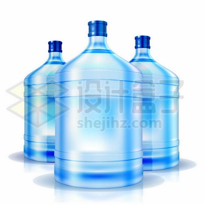 3个蓝色的桶装纯净水桶9151357矢量图片免抠素材免费下载