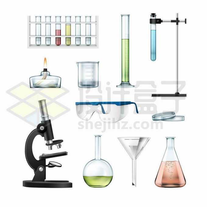 试管架上的试管量筒酒精灯显微镜护目镜玻璃漏斗锥形瓶等化学实验仪器7062263矢量图片免抠素材免费下载